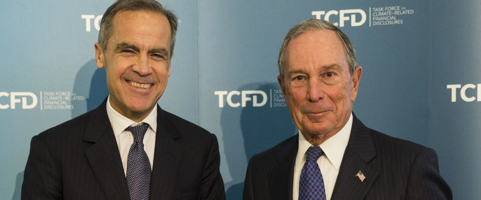 Mark Carney, left, and Michael Bloomberg are authors of the final recommendations of the G20 Financial Stability Board's Task Force on Climate-Related Financial Disclosures. Carney is a Canadian economist who currently serves as Governor of the Bank of England and chairs the Financial Stability Board. American businessman, author, politician, and philanthropist, Bloomberg is a former mayor of New York City. His current net worth is estimated at US$50.4 billion, ranking him as the world's sixth richest person. (Photo courtesy G20 Financial Stability Board) posted for media use.