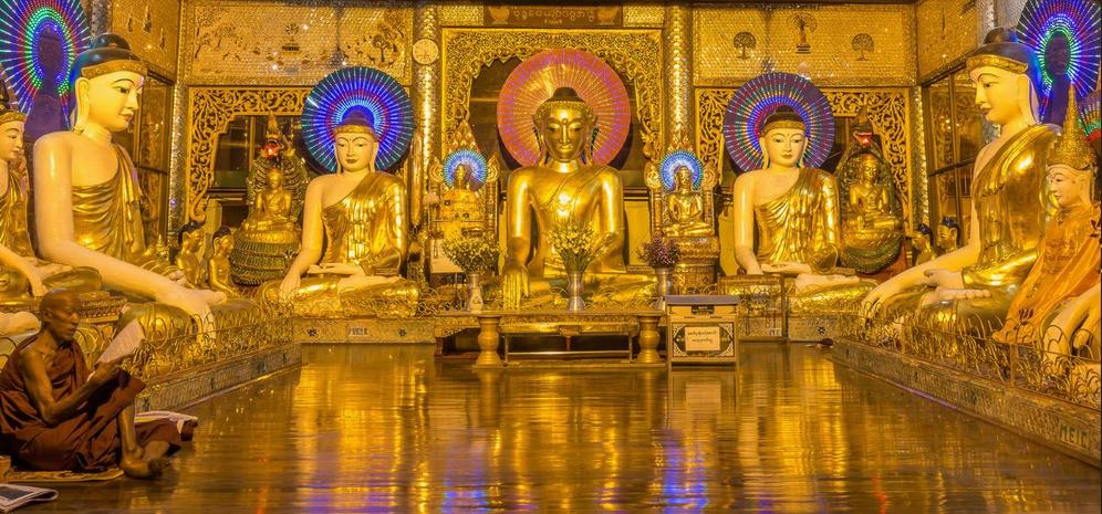 Buddhist statues Yangon, Myanmar, February 2015 (Photo by J. Durok) Creative Commons license via Flickr
