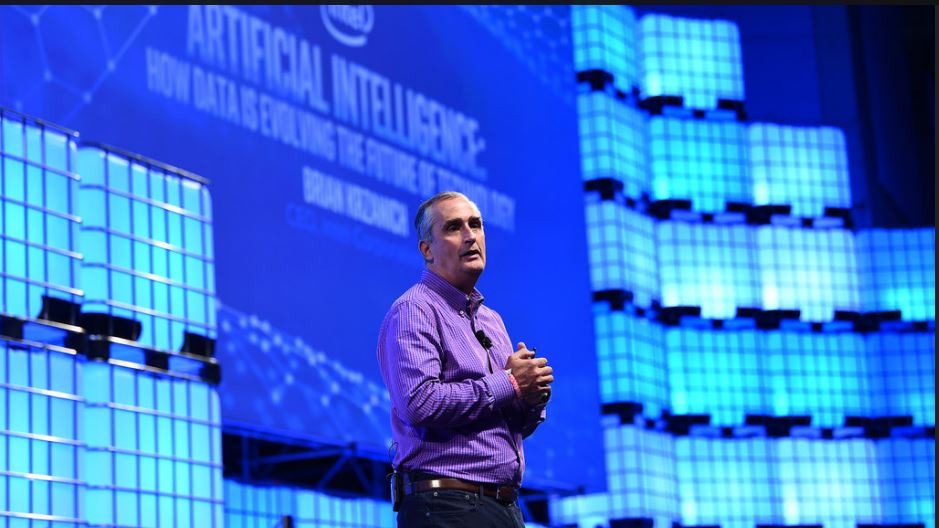 Brian Krzanich, CEO, Intel, on Centre Stage during the opening day of Web Summit 2017 at Altice Arena in Lisbon, Portugal. (Photo by Stephen McCarthy/Web Summit via Sportsfile) Creative Commons License via flickr