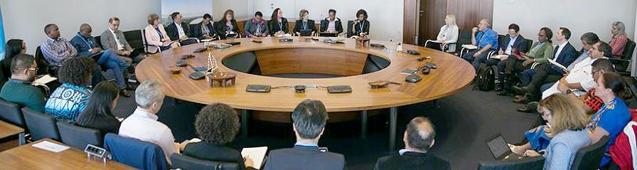 Participants in the Talanoa Dialogue share their stories and insights regarding climate change in one of seven dialogue rooms in Bonn, Germany. May 6, 2018 (Photo courtesy Earth Negotiations Bulletin) Used with permission