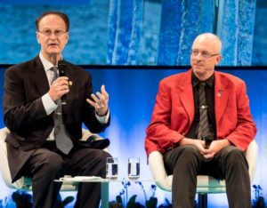 2018 Stockholm Water Prize winners Professors Bruce Rittmann and Mark van Loosdrecht at the 2018 World Water Week opening session, August 27, 2018 (Photo by Thomas Henriksson / SIWI) Creative Commons license via Flickr