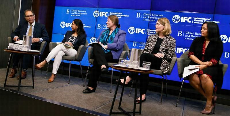 "The Global Development and Economy program at Brookings and the International Finance Corporation held a panel discussion on ""The potential of impact investing to create impact. Global's Interim Vice President Homi Kharas, left, moderated the discussion. April 8, 2019, Washington, DC (Photo by Paul Morigi / Brookings Institution)"